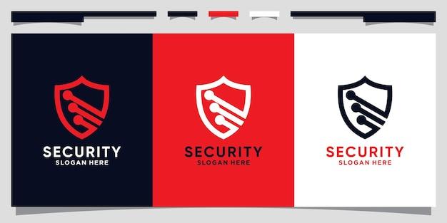 Technologia projektowania logo tarczy dla bezpieczeństwa danych w stylu grafiki liniowej premium wektor