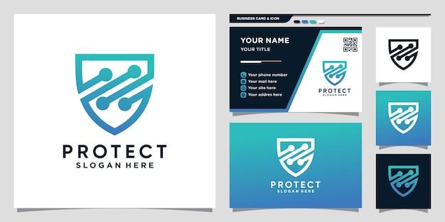 Technologia projektowania logo tarczy z grafiką liniową i projektowaniem wizytówek premium wektorów
