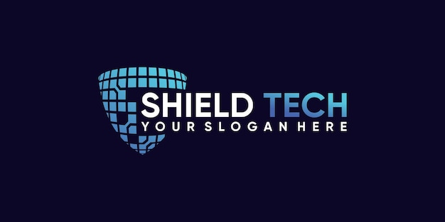 Technologia projektowania logo tarczy z kreatywną koncepcją nowoczesnego stylu premium wektor