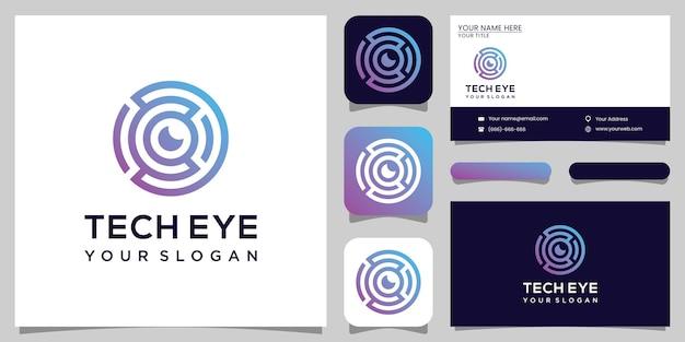 Technologia projektowania logo tech eye i projekt samochodu biznesowego premium vektor