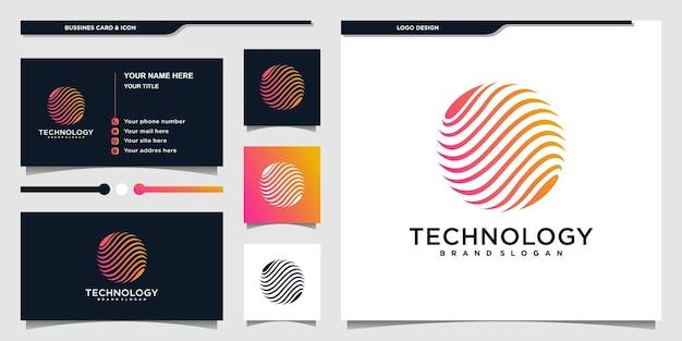 Technologia projektuje logo globusa inspiracją z nowoczesnym logo kształtu planety i projektem wizytówek premium wektorów