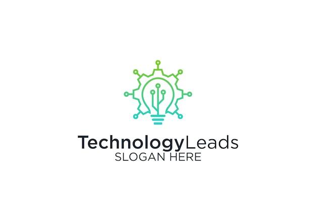 Technologia prowadzi szablon projektu logo