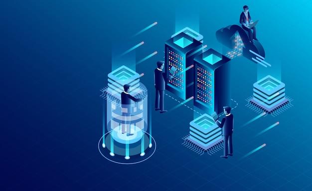 Technologia przechowywania danych w chmurze serwerowni datacenter i przetwarzanie dużych danych