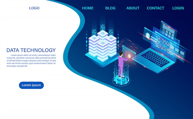 Technologia przechowywania w chmurze serwerowni datacenter i przetwarzanie dużych danych ochrona bezpieczeństwa danych. informacje cyfrowe. izometryczny. kreskówka wektor