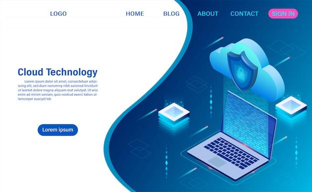 Technologia przetwarzania w chmurze. usługa cyfrowa lub aplikacja z przesyłaniem danych. przetwarzanie danych ochrona koncepcji bezpieczeństwa danych. izometryczny płaski
