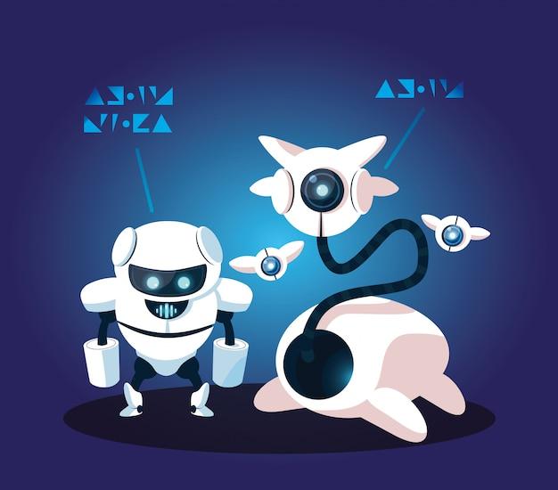 Technologia robota kreskówka na niebiesko
