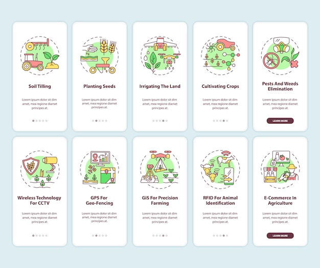 Technologia rolnicza wprowadzająca ekran strony aplikacji mobilnej z ustawionymi koncepcjami.