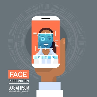 Technologia rozpoznawania twarzy smart phone scanning eye retina african american woman biometric iden