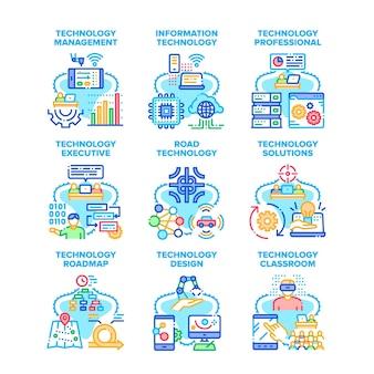 Technologia rozwiązania zestaw ikon ilustracje wektorowe