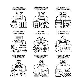 Technologia rozwiązania zestaw ikon wektorowych ilustracje. rozwiązania technologiczne i profesjonalne zarządzanie, informacje o klasie i system drogowy, projekt i mapa drogowa. innowacje techniczne czarny ilustracja