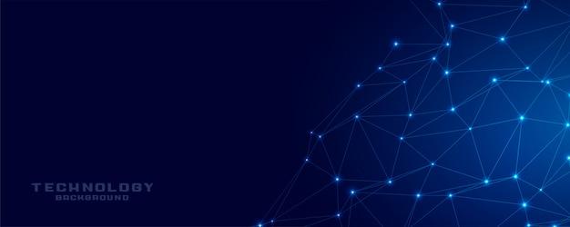 Technologia sieci połączenie banner niebieski siatki