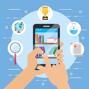 Technologia smartfona z książką edukacji e-learningowej