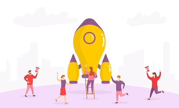 Technologia startup wprowadzenie produktu tiny people character concept.koncepcja uruchomienia firmy na stronie internetowej, baner, prezentacja, sieci społecznościowe. grupa ludzi biznesu świętująca udane uruchomienie.