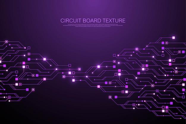 Technologia streszczenie płytka drukowana tekstura tło. zaawansowana technologicznie futurystyczna płytka drukowana