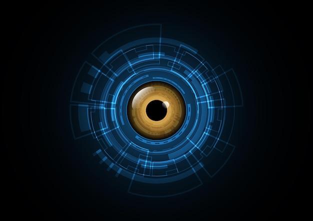 Technologia streszczenie przyszłość oko bezpieczeństwa koło tło wektor ilustracja