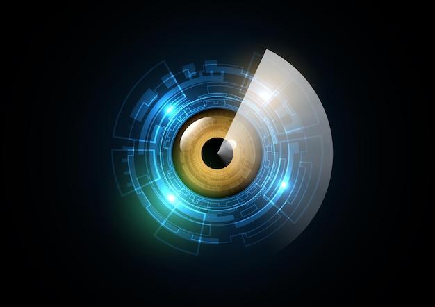Technologia streszczenie przyszłość oko radar koło bezpieczeństwa tło