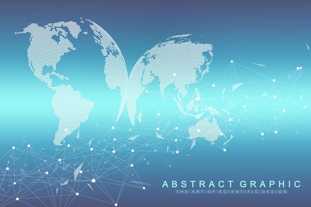 Technologia streszczenie tło z połączoną linią i kropkami. wizualizacja dużych zbiorów danych. wizualizacja tła perspektywicznego. sieci analityczne. ilustracja wektorowa.