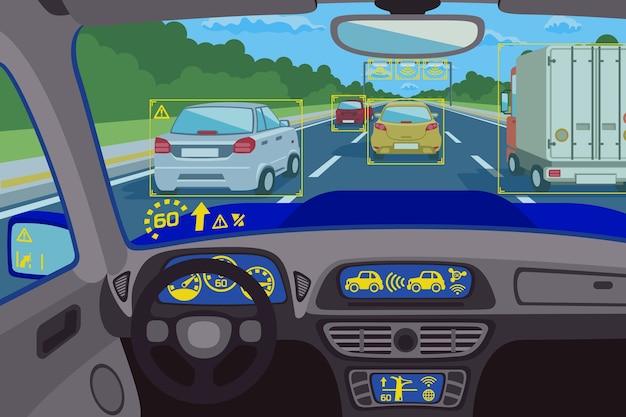 Technologia systemu head-up w samochodzie. sterowanie systemem technologicznym, pulpit nawigacyjny technologii przyszłości, cyfrowy komputer typu head-up. ilustracji wektorowych