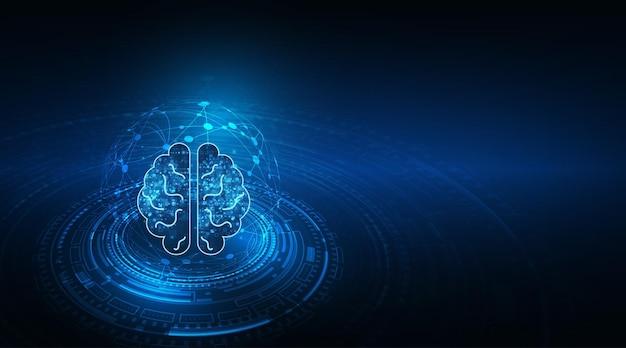 Technologia sztucznej inteligencji (ai) koncepcja danych cyfrowych animacji mózgu.