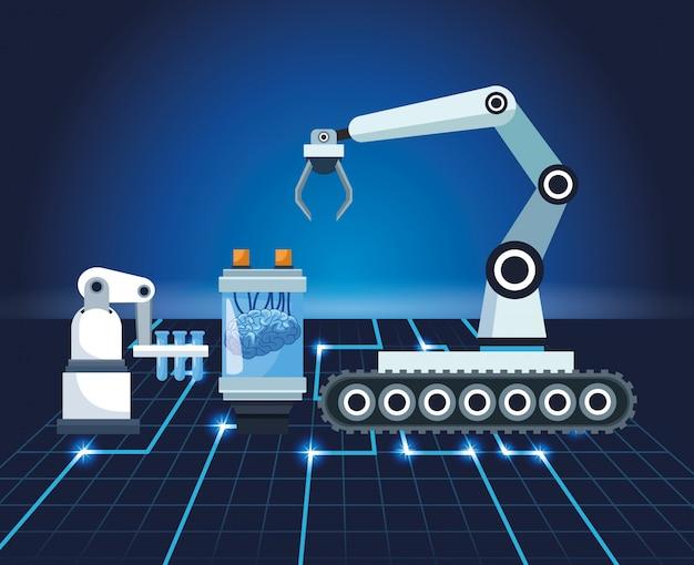 Technologia sztucznej inteligencji ramię robota proces ludzkiego mózgu