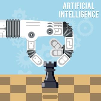 Technologia sztucznej inteligencji. ręka robota gra w szachy, ręka wykonuje ruch wieżą