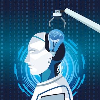 Technologia sztucznej inteligencji robotyczne ramię cyborga maszyna do rozwoju ludzkiego mózgu