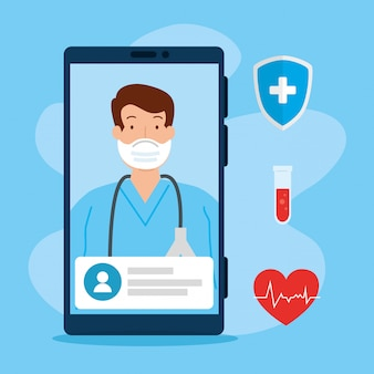 Technologia telemedycyny z lekarzem w smartfonie i ikon medycznych