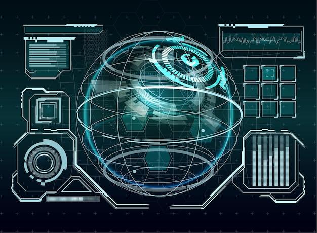 Technologia ui futurystyczna koncepcja interfejsu hud