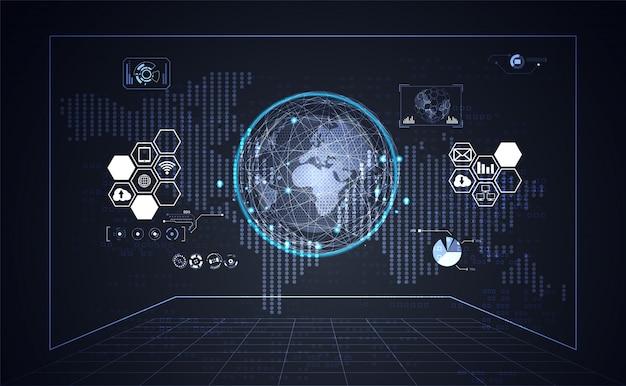 Technologia ui futurystyczne tło interfejsu hud biznes i mapa świata kropka
