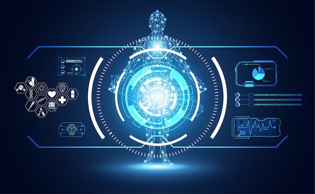 Technologia ui futurystyczny interfejs hud ludzki