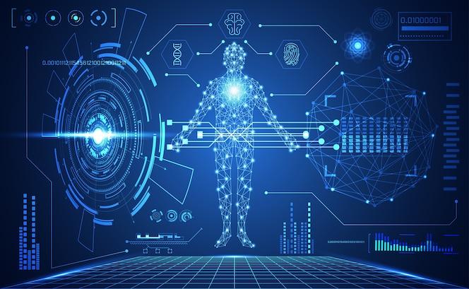 Technologia ui futurystyczny ludzki medyczny interfejs hud