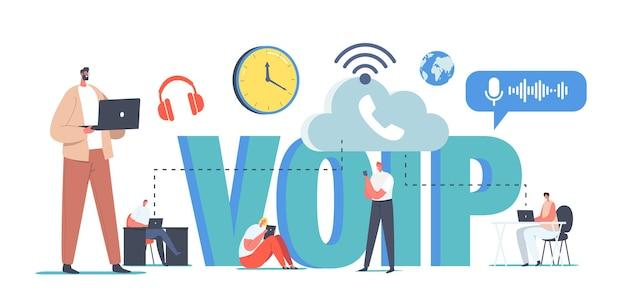 Technologia voip, koncepcja voice over ip. postacie korzystają z telefonii, systemu telekomunikacyjnego, komunikacji telefonicznej za pośrednictwem pamięci w chmurze. połączenie sieci bezprzewodowej. ilustracja wektorowa kreskówka ludzie