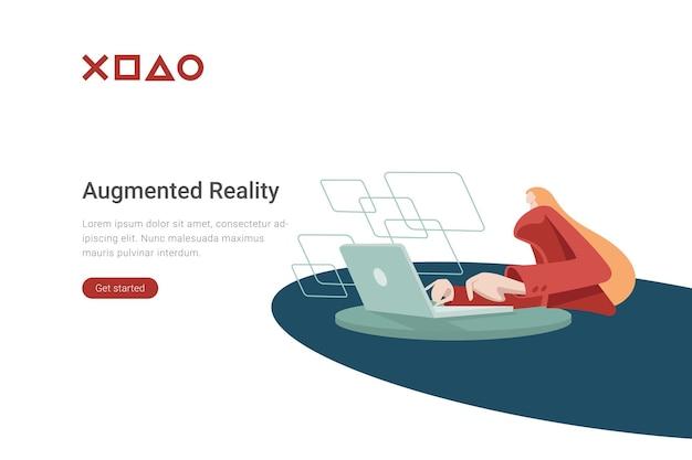 Technologia vr płaska ilustracja kobieta pracująca z laptopem z dodatkowymi ekranami wirtualnymi wyświetlaczami