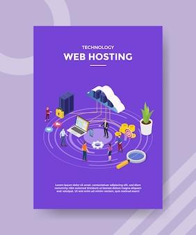 Technologia web hosting chmura łącząca laptop z serwerem dla szablonu banera i ulotki