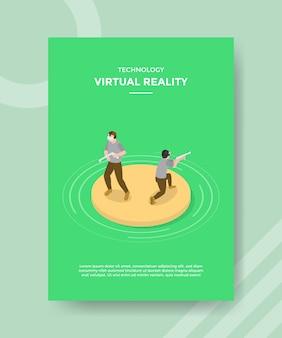 Technologia wirtualnej rzeczywistości mężczyźni noszący szablon ulotki z zestawem słuchawkowym vr