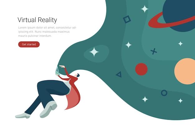 Technologia wirtualnej rzeczywistości płaska konstrukcja ilustracja kobieta w wirtualnych okularach latająca w kosmosie