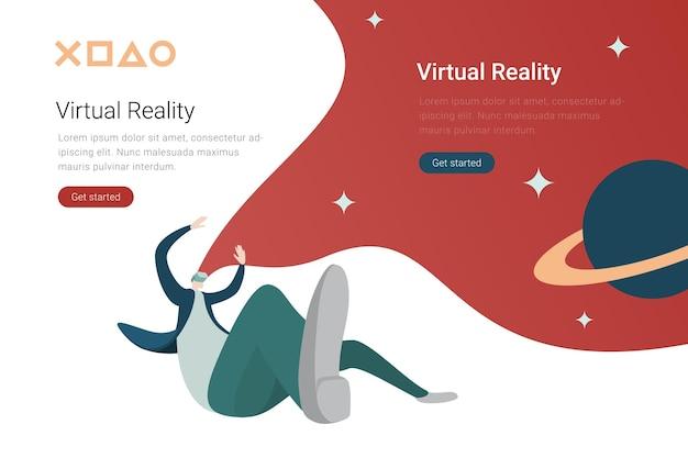 Technologia wirtualnej rzeczywistości vr płaska konstrukcja ilustracja człowiek w wirtualnych okularach w kosmosie