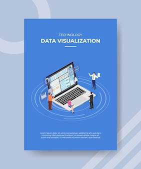 Technologia wizualizacji danych osób stojących siedzących na laptopie dla szablonu ulotki