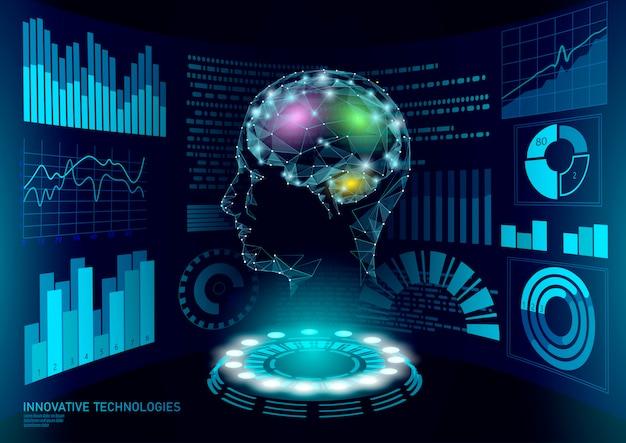 Technologia wyświetlania użytkownika interfejsu wirtualnego asystenta. obsługa robotów sztucznej inteligencji ai. chatbot ludzka mózg sieć neuronowa low poly ilustracja