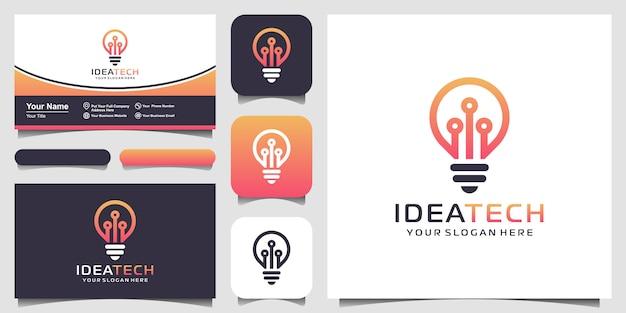 Technologia żarówki na logo circuit, ikonie technologii światła elektrycznego i projekcie wizytówki