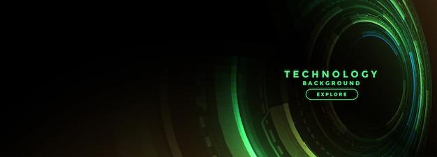 Technologia zielony sztandar z cyfrowym diagramem