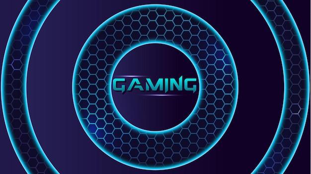 Technologiczna gra zielony i niebieski neon nowoczesny sześciokątny e-sportowy tło wektor transparentu z kółkiem