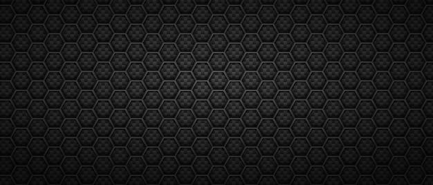 Technologiczne sześciokątne czarne tło. geometryczne wielokątne płytki ułożone w abstrakcyjne rzędy w monochromatycznym minimalizmie.