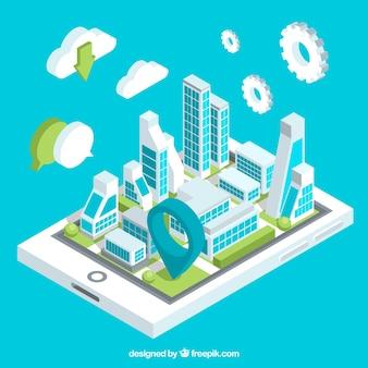 Technologicznie izometrycznym tle miasta