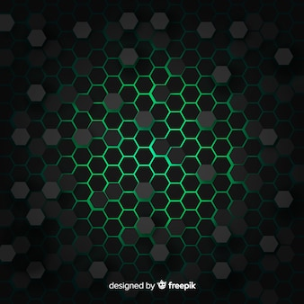 Technologiczny honeycomb tło w zieleni
