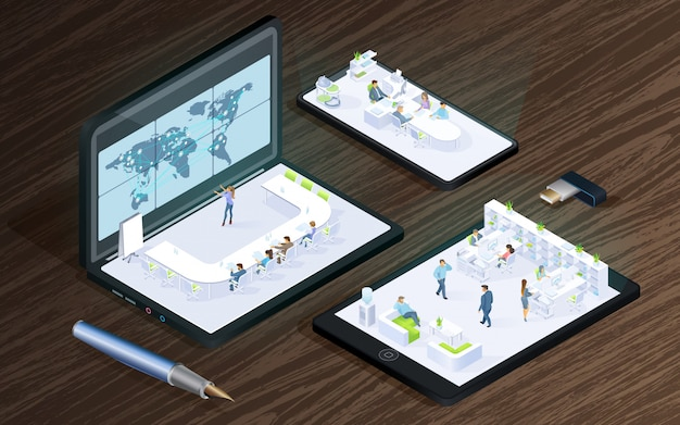 Technologie cyfrowe dla biznesu wektor izometryczny