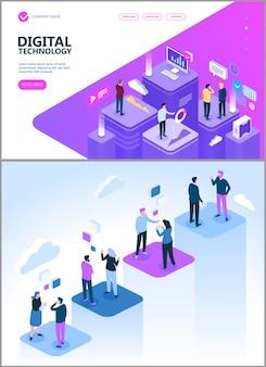 Technologie cyfrowe i ludzie rozmawiający o biznesie, izometryczna strona docelowa biznesu i finansów