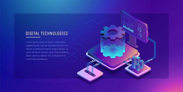 Technologie cyfrowe monitorowanie i testowanie ilustracji 3d procesu cyfrowego