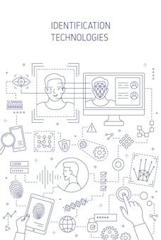 Technologie identyfikacji wektor szablon transparent. inteligentny system weryfikacji tożsamości. projekt plakatu oprogramowania do uwierzytelniania z liniowymi ilustracjami. bezpieczeństwo cyfrowe, koncepcja ograniczenia dostępu.