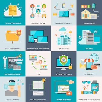 Technologie informacyjne koncepcja płaskie ikony